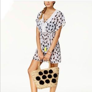 MIKEN Pineapple Flamingo Cover Up Lace Up Dress
